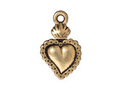DROP-Sacred Heart Milagro, 21.3x13mm (Antique Gold Plated)