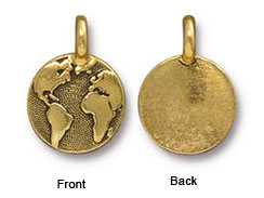 10 - TierraCast Antique Gold Earth Charm