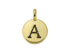 TierraCast Pewter Alphabet Charm Antique Gold Plated -  A