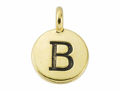 TierraCast Pewter Alphabet Charm Antique Gold Plated -  B