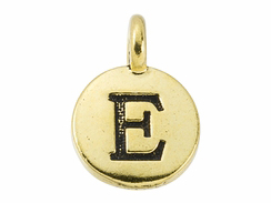 TierraCast Pewter Alphabet Charm Antique Gold Plated -  Epsilon
