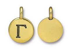 TierraCast Pewter Alphabet Charm Antique Gold Plated -  Gamma