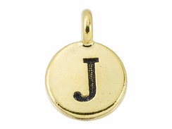 TierraCast Pewter Alphabet Charm Antique Gold Plated -  J