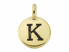 TierraCast Pewter Alphabet Charm Antique Gold Plated -  K