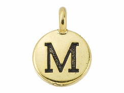 TierraCast Pewter Alphabet Charm Antique Gold Plated -  Mu