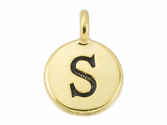 TierraCast Pewter Alphabet Charm Antique Gold Plated -  S