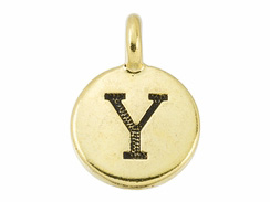 TierraCast Pewter Alphabet Charm Antique Gold Plated -  Y