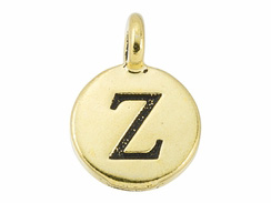 TierraCast Pewter Alphabet Charm Antique Gold Plated -  Zeta