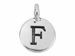 TierraCast Pewter Alphabet Charm Antique Silver Plated -  F