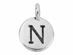 TierraCast Pewter Alphabet Charm Antique Silver Plated -  N