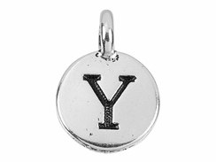 TierraCast Pewter Alphabet Charm Antique Silver Plated -  Upsilon