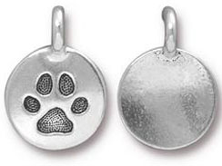 10 - TierraCast Antique Silver Paw Print Charm