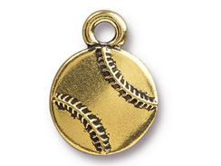 5 - TierraCast Baseball Pewter Charm Antique Gold Plated