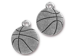 5 - TierraCast Basketball Pewter Charm Antique Silver Plated