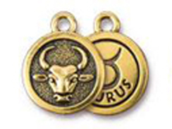 TierraCast Pewter Zodiac Sign Charms Antique Gold Plated - Taurus