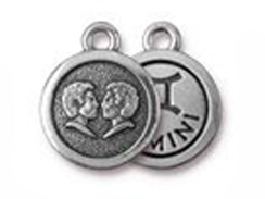 TierraCast Pewter Zodiac Sign Charms Antique Silver Plated - Gemini