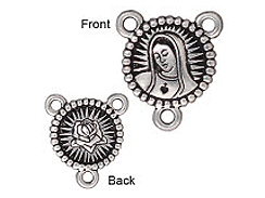 LINK-Our Lady of Guadalupe Rosary Medal (Antique Silver Plated)