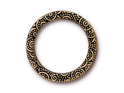 10 - TierraCast Pewter Spiral Ring Links Antique Gold Plated 1