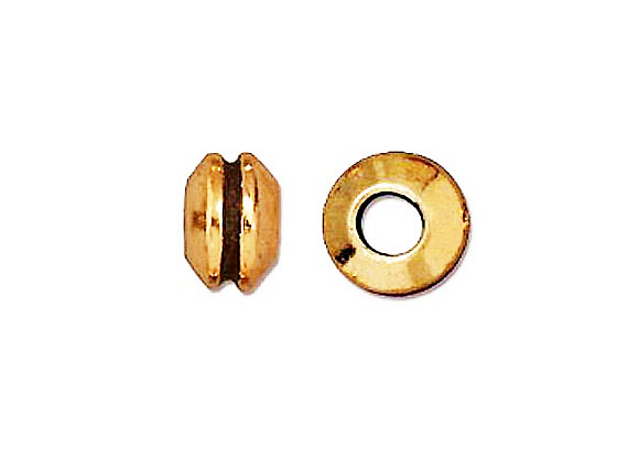 20 - TierraCast Pewter BEAD Grooved Large Hole Spacer, Antique Gold Plated