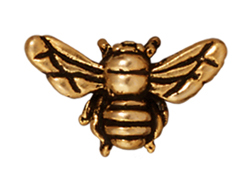 10 - TierraCast Pewter BEAD Honey Bee , Antique Gold Plated