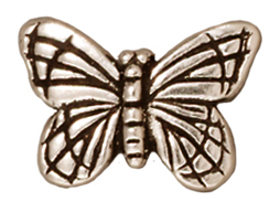 10 - TierraCast Pewter BEAD Monarch Butterfly , Antique Silver Plated