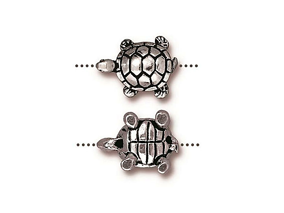 20 - TierraCast Pewter BEAD Turtle , Antique Silver Plated