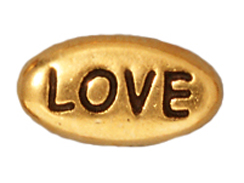 20 - TierraCast Pewter LOVE Message Bead, Antique Gold Plated
