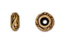 20 - TierraCast Pewter BEAD Small Woodland Bead, Antique Gold Plated