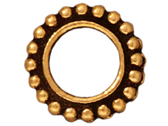 20 - TierraCast Pewter BEAD FRAME Round Double Row Beaded Edge Antique Gold Plated