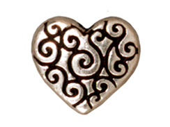 10 - TierraCast Pewter BEAD Heart Scroll, Antique Silver Plated
