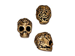 10 - TierraCast Pewter BEAD Rose Skull Vertical Hole Antique Gold Plated