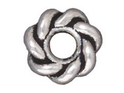 BEAD-Twisted Spacer, 8mm (Antique Silver Plated)