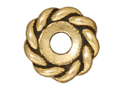 20 - TierraCast Pewter BEAD Twist Spacer Heishi, Antique Gold Plated