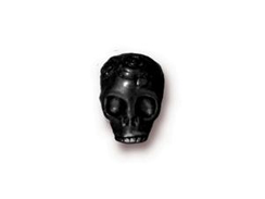 10 - TierraCast Pewter BEAD Rose Skull Large Hole Black Finish
