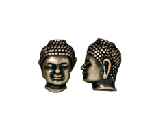 10 - TierraCast Pewter BEAD Large Hole Buddha Head, Oxidized brass