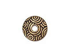 10 - TierraCast Pewter SPIRAL DANCE Bead Cap Antique Gold plated