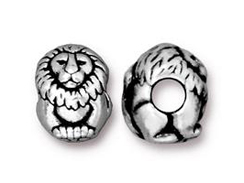 10 - TierraCast Antique Silver Plated Pewter Lion EuroBead
