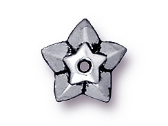 20 - TierraCast Pewter BEAD CAP Star Antique Silver Plated