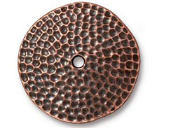 5 - TierraCast Round Hammertone Disk Embellishment Antique Copper Plated