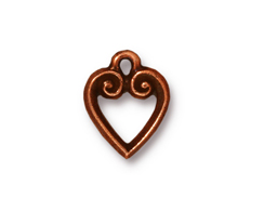 10 - TierraCast Pewter CHARM Classic Heart Antique Copper Plated