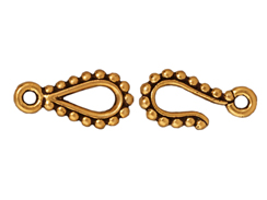 10 - TierraCast Pewter CLASP Beaded Edge Hook & Eye Set, Antique Gold Plated