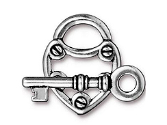 5 - TierraCast Pewter CLASP SET Lock & Key Antique Silver Plated