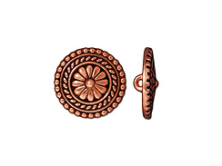 5 - TierraCast Pewter Button Large Bali Antique Copper Plated