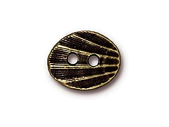 10 - TierraCast Pewter Button Oval Shell Oxidized Brass