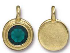 Emerald - TierraCast Bright Gold Plated Pewter Stepped Bezel Charm with Swarovski Stone, May Birthstone