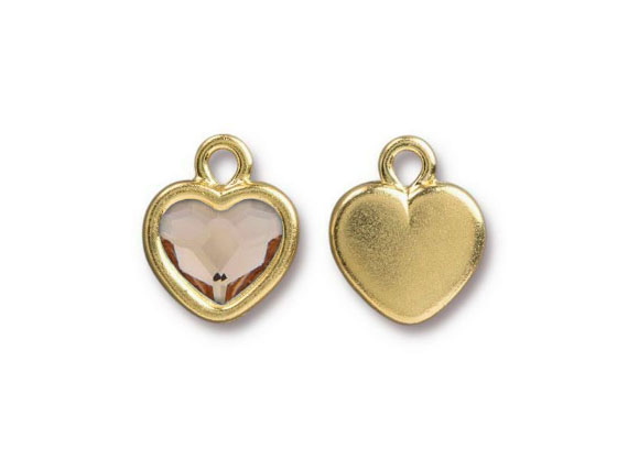 TierraCast Bright Gold Plated Pewter Heart  Bezel Drop with Swarovski Stone - Light Silk