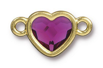 TierraCast Bright Gold Plated Pewter Heart  Bezel Link with Swarovski Stone - Fuchsia