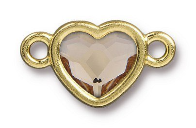 TierraCast Bright Gold Plated Pewter Heart  Bezel Link with Swarovski Stone - Light Silk