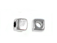 3mm Small Plain Pewter Square Bead