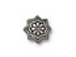 20 - TierraCast Pewter BEAD CAP Talavera Star, Antique Silver Plated